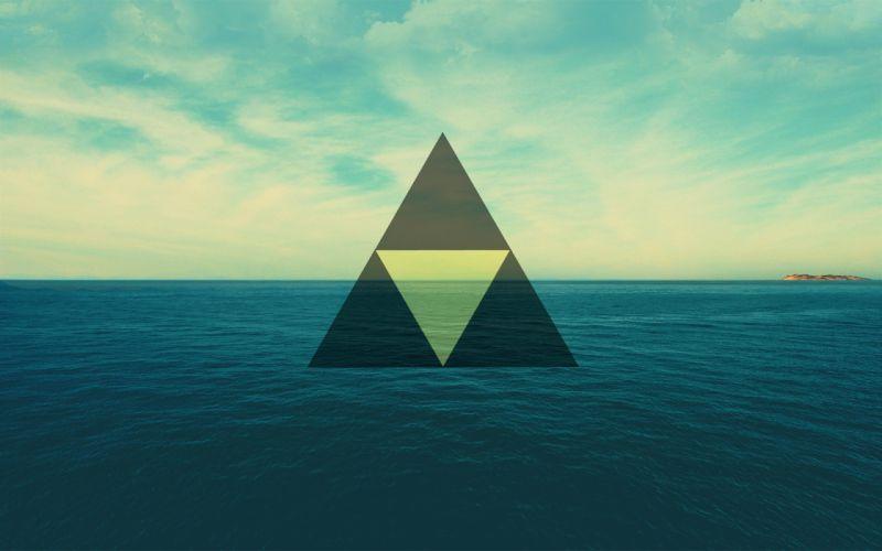 shapes triangles sea wallpaper