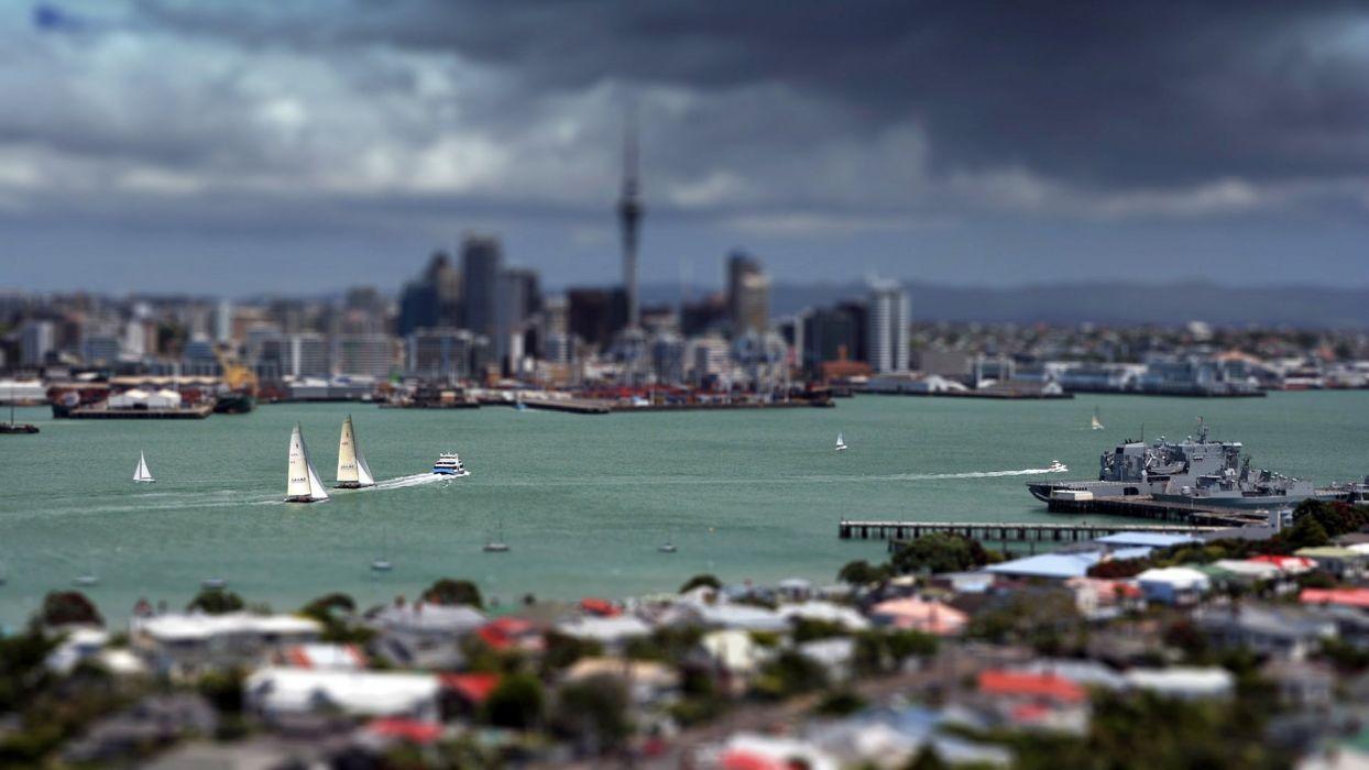 cityscapes Auckland tilt-shift wallpaper