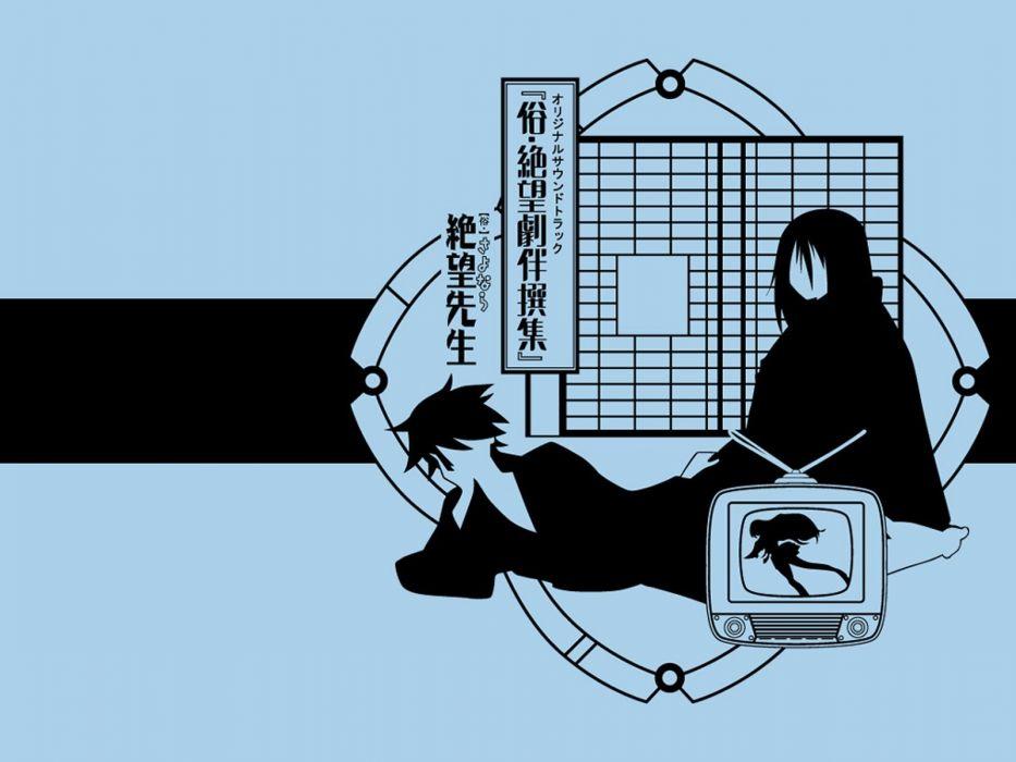 Sayonara Zetsubou Sensei blue Komori Kiri Itoshiki Nozomu anime girls polychromatic Kimura Kaere wallpaper
