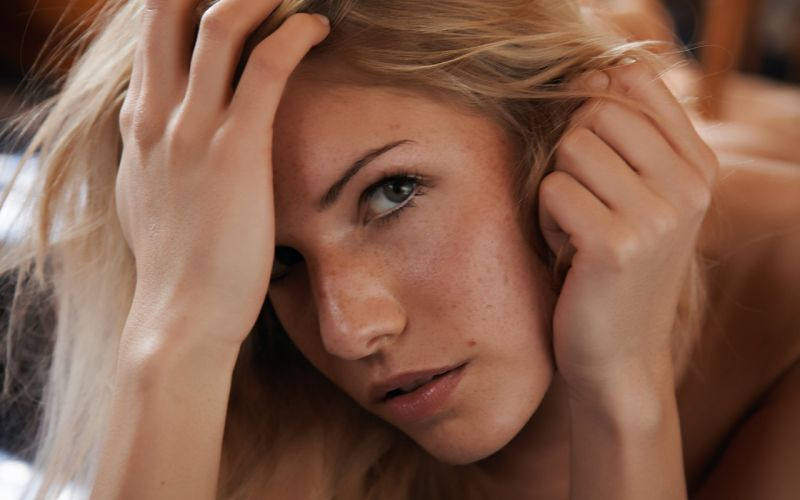 blondes women close-up freckles Iveta Vale depth of field faces wallpaper