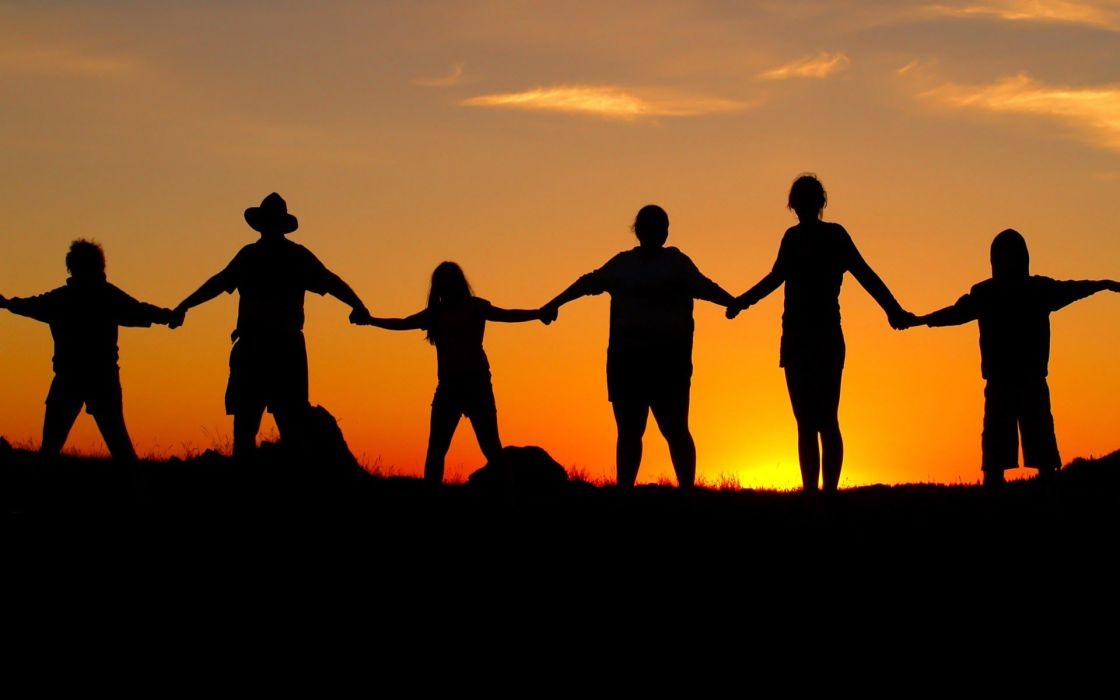 sunset nature human chain wallpaper