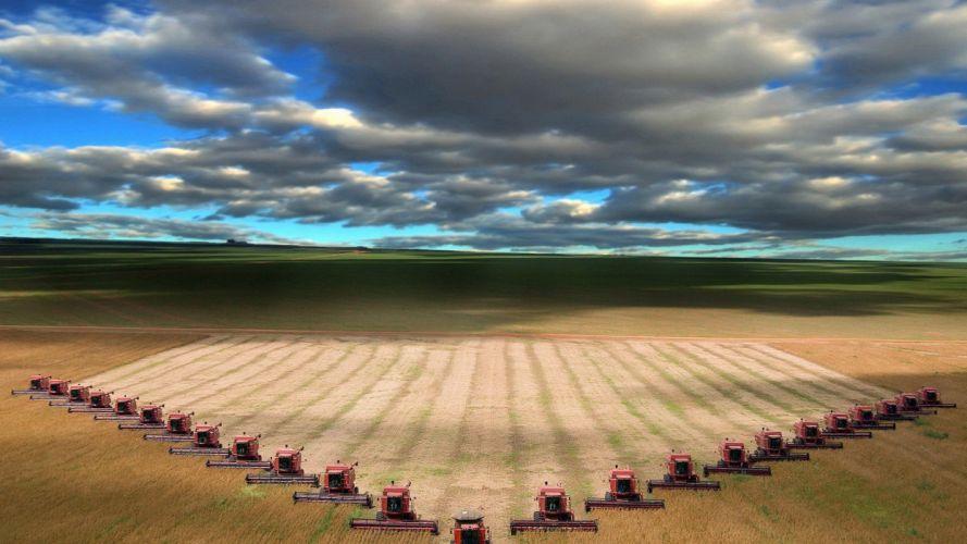 clouds landscapes nature combine harvester Harvester wallpaper