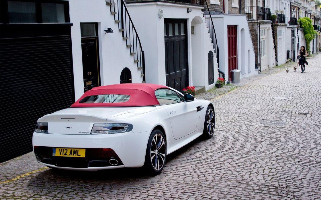 streets cars houses roads convertible white cars Aston Martin V12 Vantage RS wallpaper