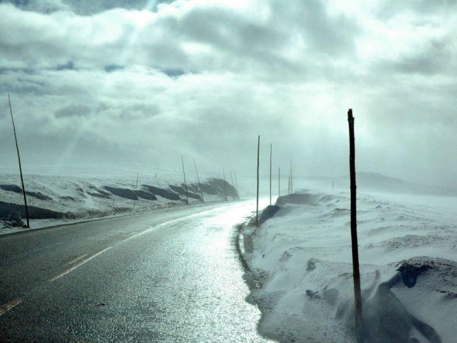 clouds landscapes winter roads wallpaper