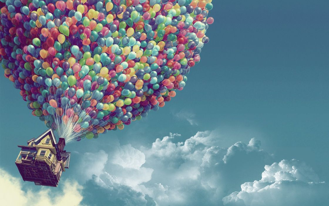 clouds Pixar houses Up (movie) balloons skyscapes wallpaper