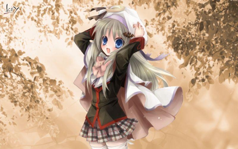 autumn blue eyes leaves ribbons Little Busters! Noumi Kudryavka anime girls wallpaper