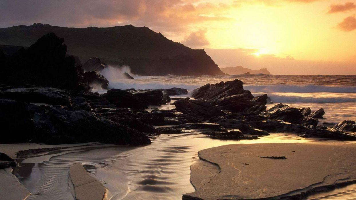 mountains Ireland sea beaches wallpaper