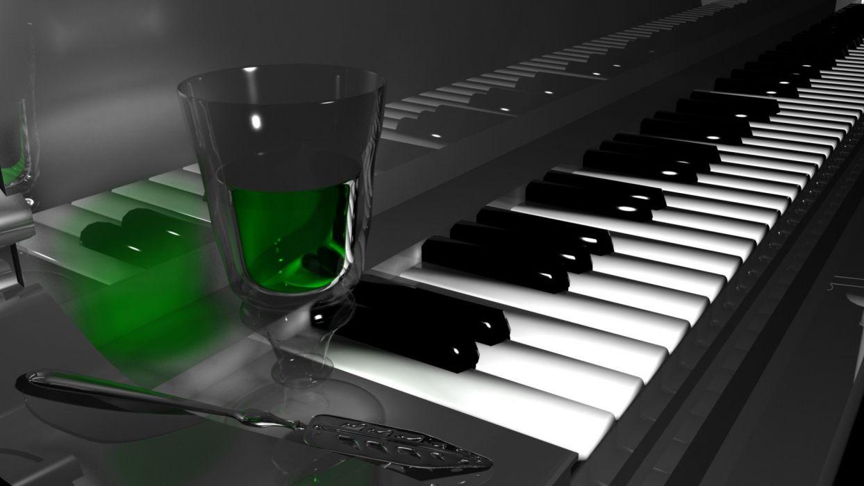 piano alcohol spoons absinthe liquor gray background wallpaper