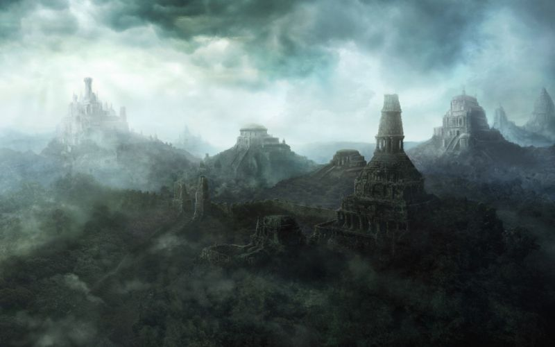 castles fantasy art temples wallpaper