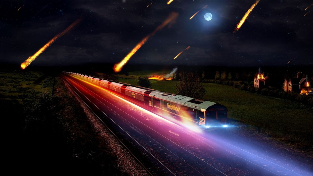 light nature night fire Moon grass houses trains glowing asteroids meteorites wallpaper
