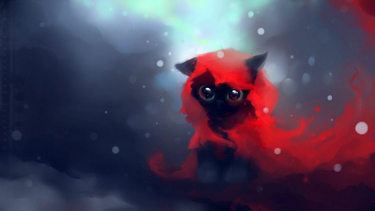 red cats DeviantART artwork kittens Apofiss Red Riding Hood wallpaper