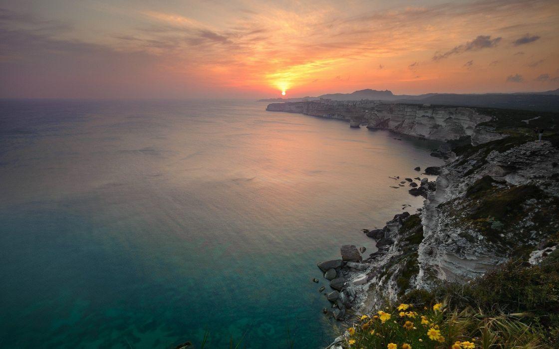 light sunset landscapes wallpaper