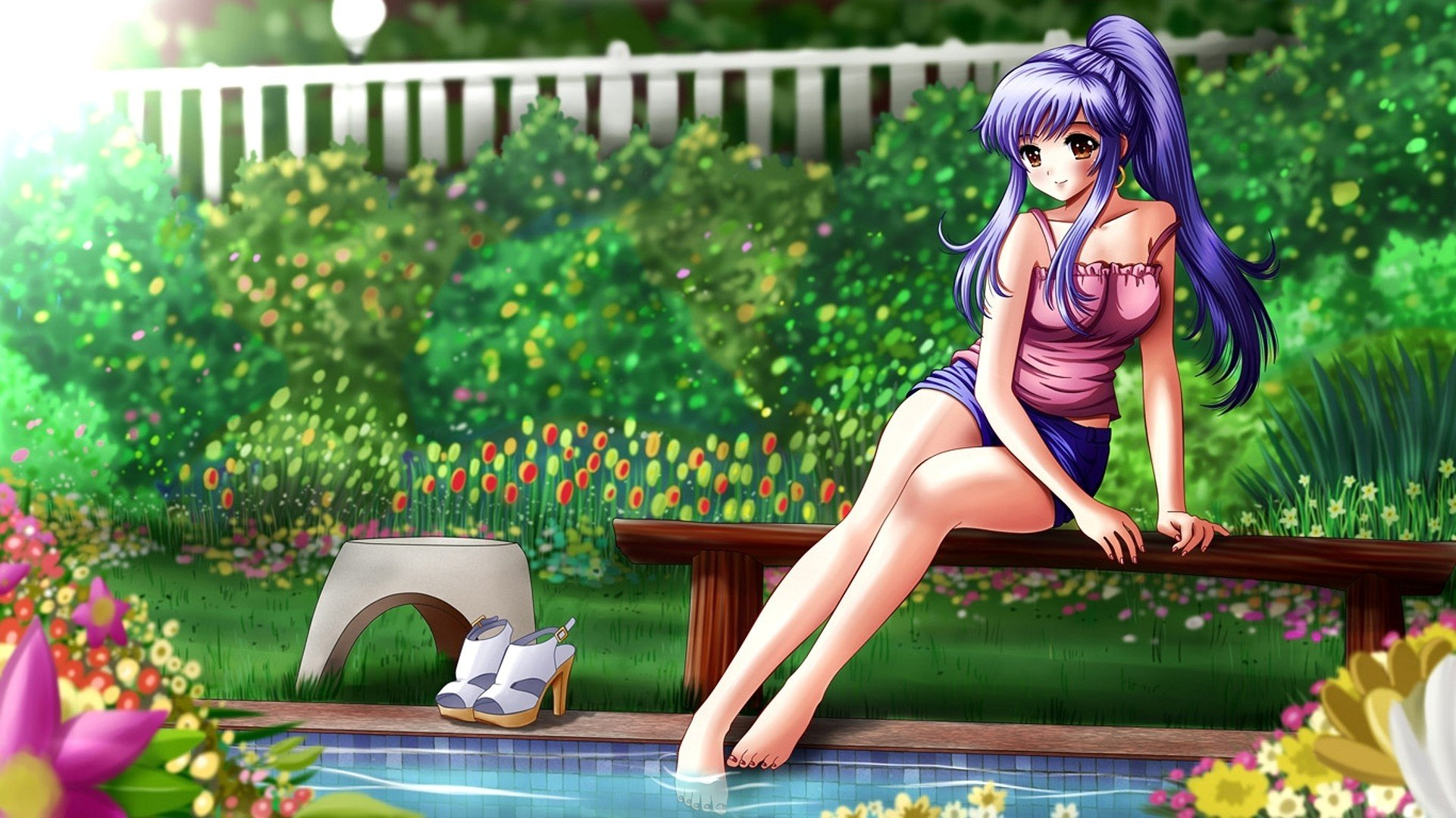 Small Garden Pictures Garden Purple Hair Anime Swimming Pools Anime Girls