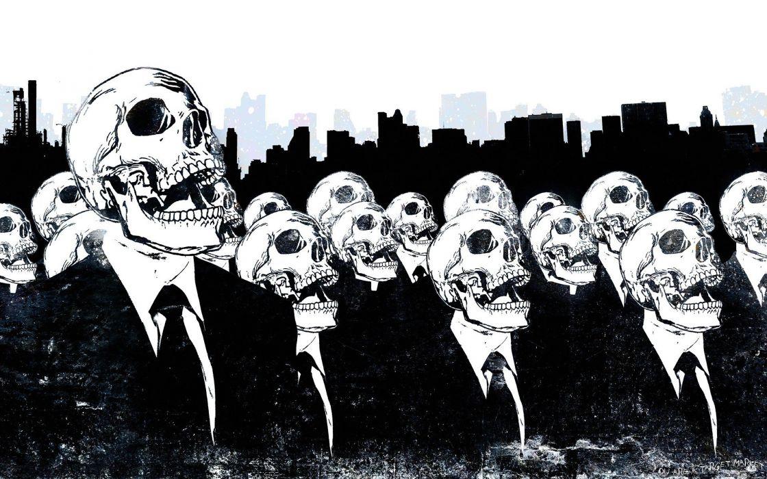 skulls Anonymous suit tie skeletons Alex Cherry wallpaper
