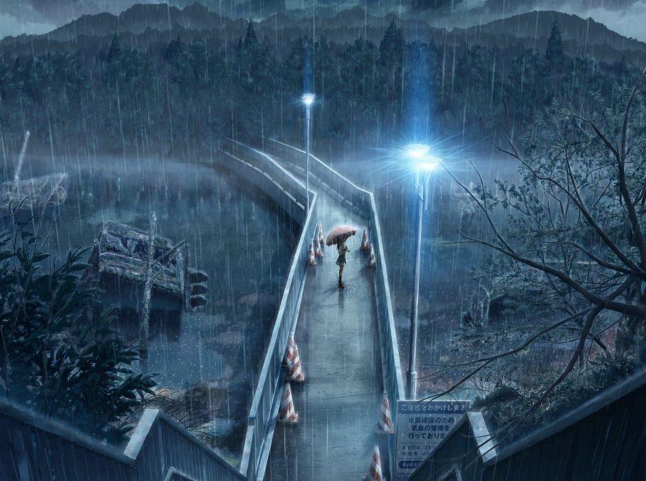 rain bridges anime wallpaper