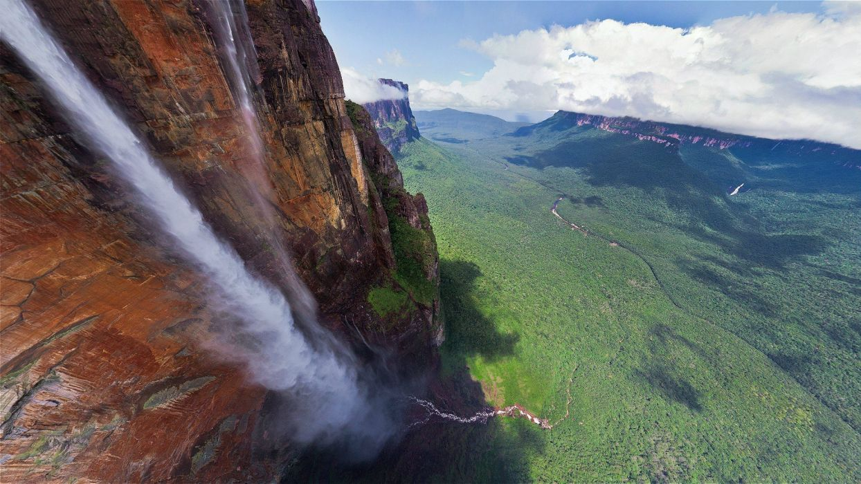 mountains clouds landscapes forests cliffs venezuela waterfalls rivers Angel Falls wallpaper