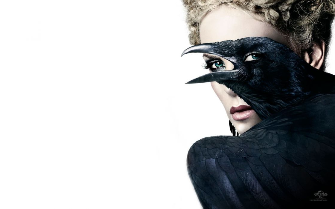 blondes women Charlize Theron photo manipulation white background Snow White and the Huntsman Raven wallpaper