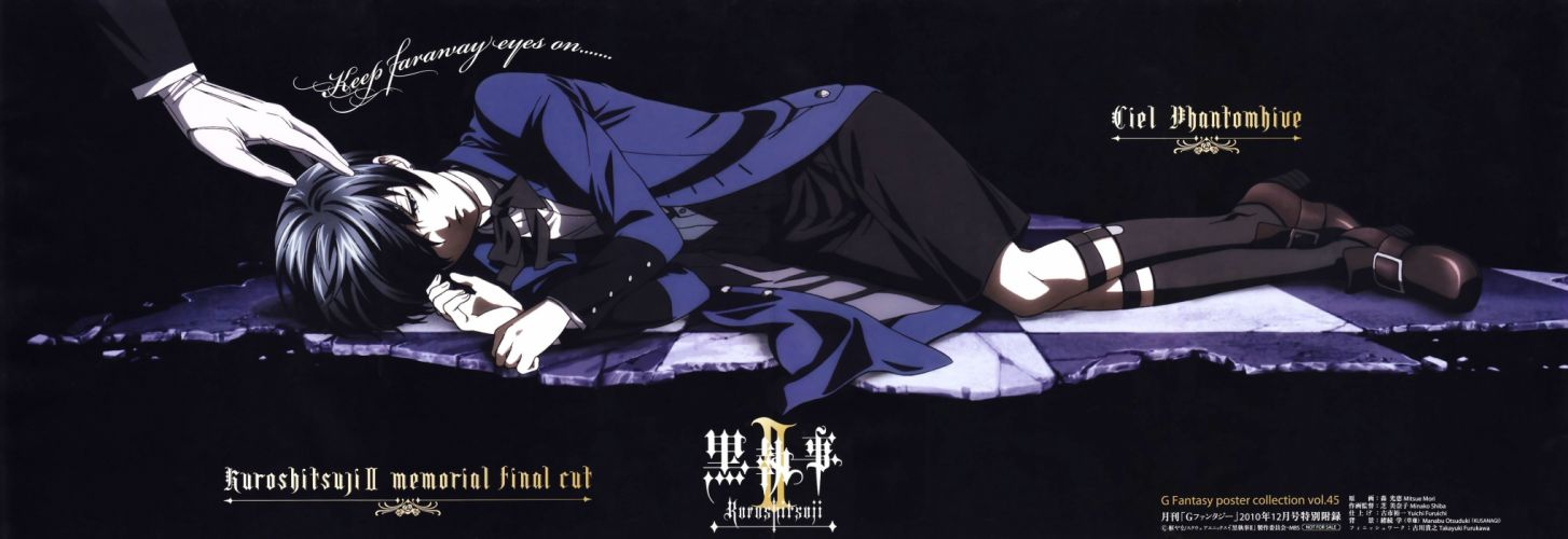 brunettes boots Kuroshitsuji Ciel Phantomhive Sebastian Michaelis anime anime boys shorts white gloves wallpaper