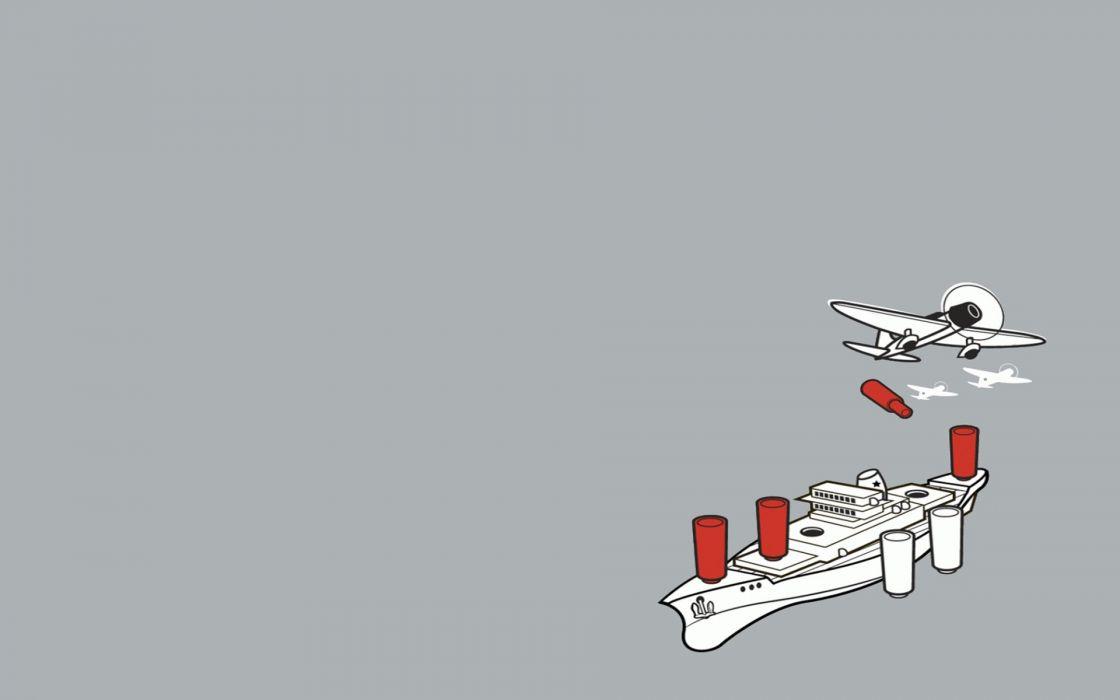 minimalistic funny Threadless vehicles simple background battleships wallpaper