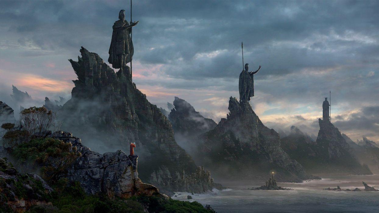 fantasy mountains landscapes wallpaper