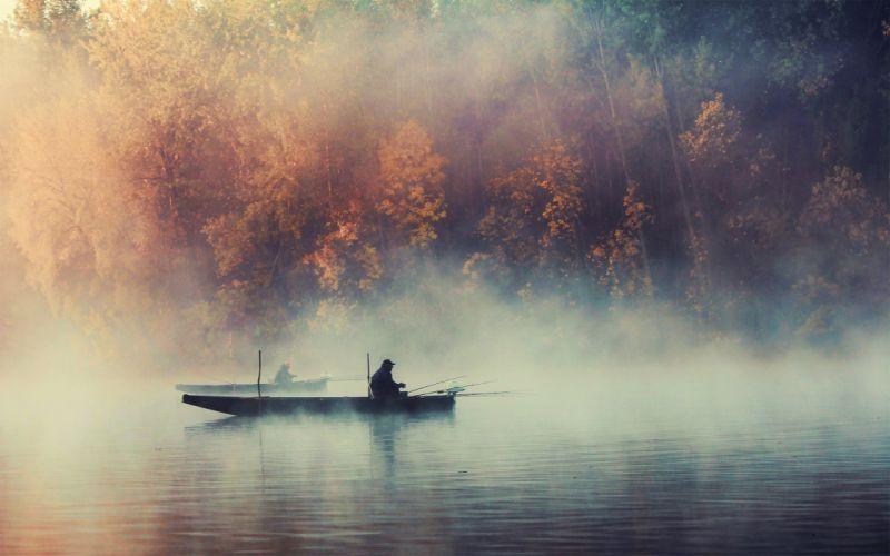 nature trees fog plants boats fishing lakes wallpaper