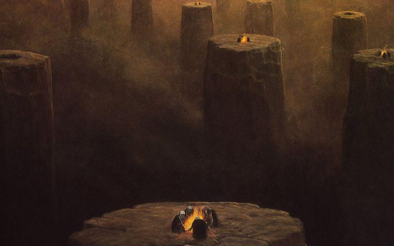 horror dust skeletons artwork pillars campfire Zdzislaw Beksinski surreal art wallpaper