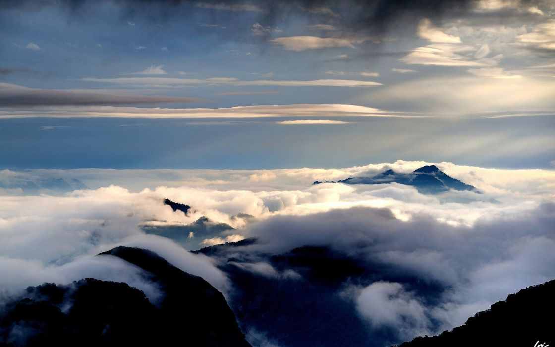 mountains clouds wallpaper