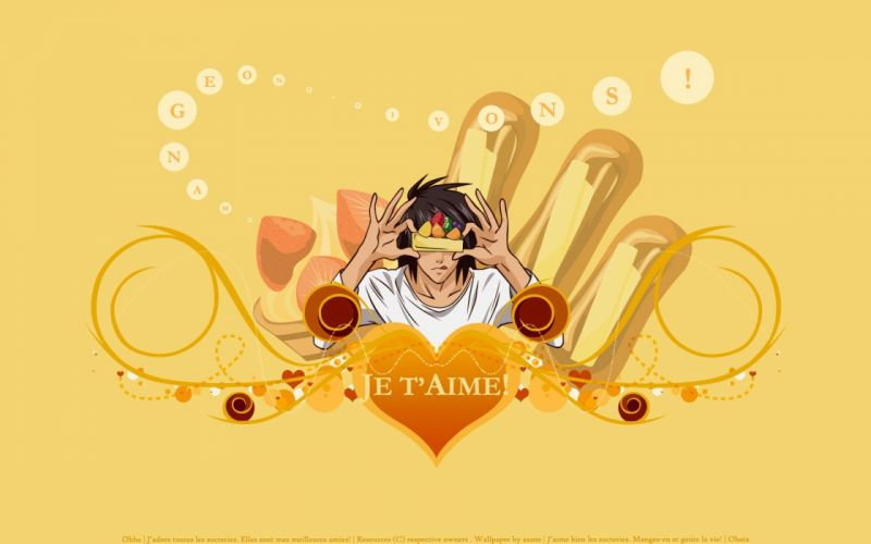 Death Note valentine anime boys hearts yellow background wallpaper