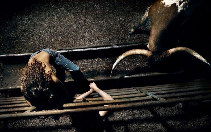 brunettes women jeans horns bull arena wallpaper