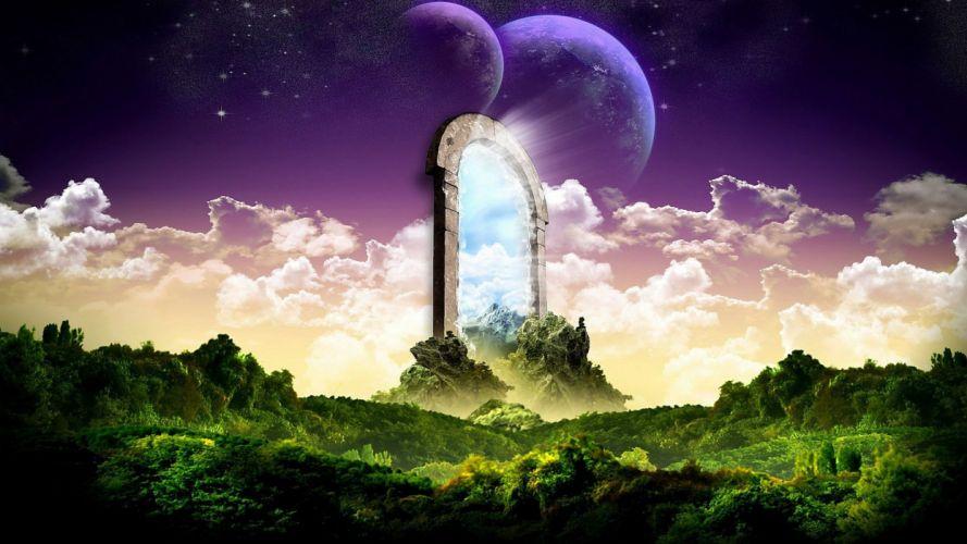 fantasy skylines planets artwork wallpaper