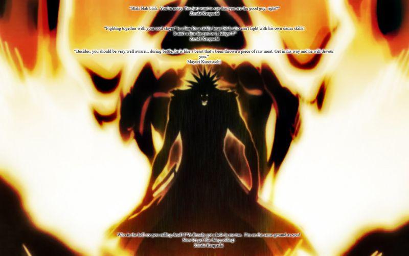 flames Bleach silhouettes Zaraki Kenpachi wallpaper