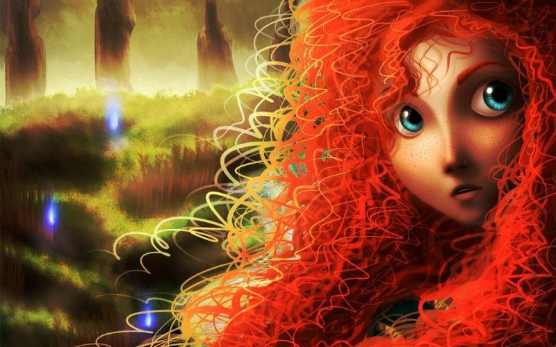 women Pixar Disney Company movies redheads Brave wallpaper