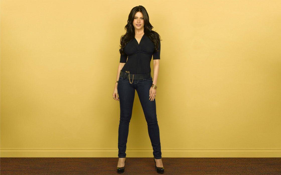 brunettes women jeans actress high heels Sofia Vergara pumps wallpaper