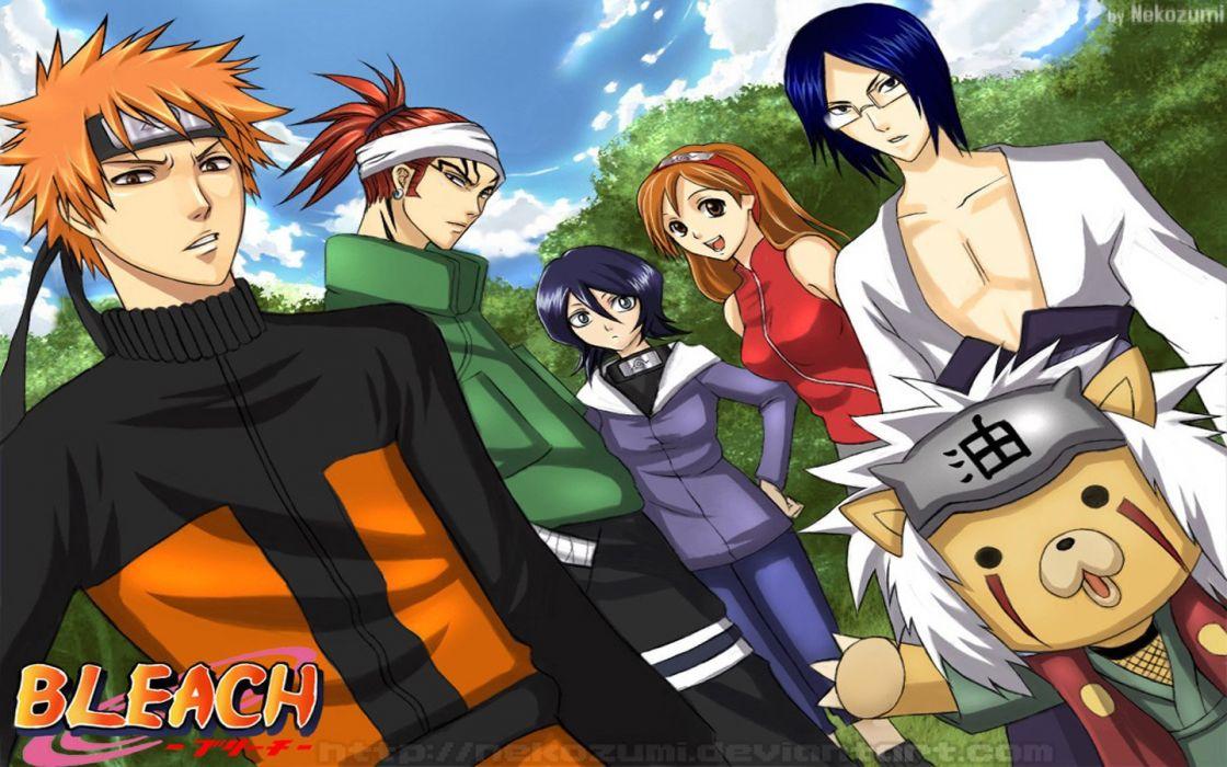 Bleach Kurosaki Ichigo Kon Naruto: Shippuden Inoue Orihime Kuchiki Rukia Abarai Renji Ishida Uryuu crossovers wallpaper
