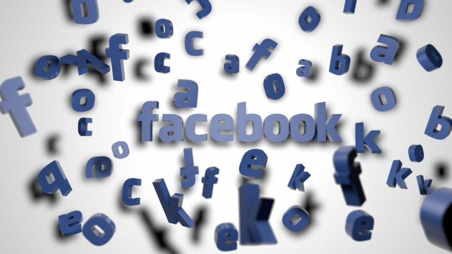 3D view Facebook logos social network wallpaper
