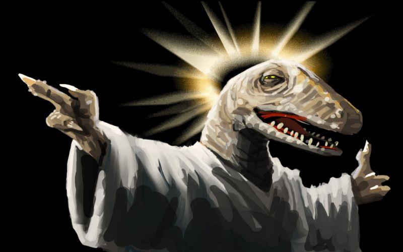 dinosaurs Jesus black background wallpaper