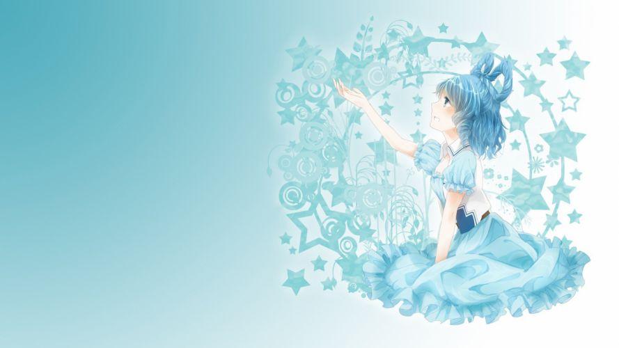 Touhou stars blue hair plants short hair aqua hair Photoshop Kaku Seiga wallpaper
