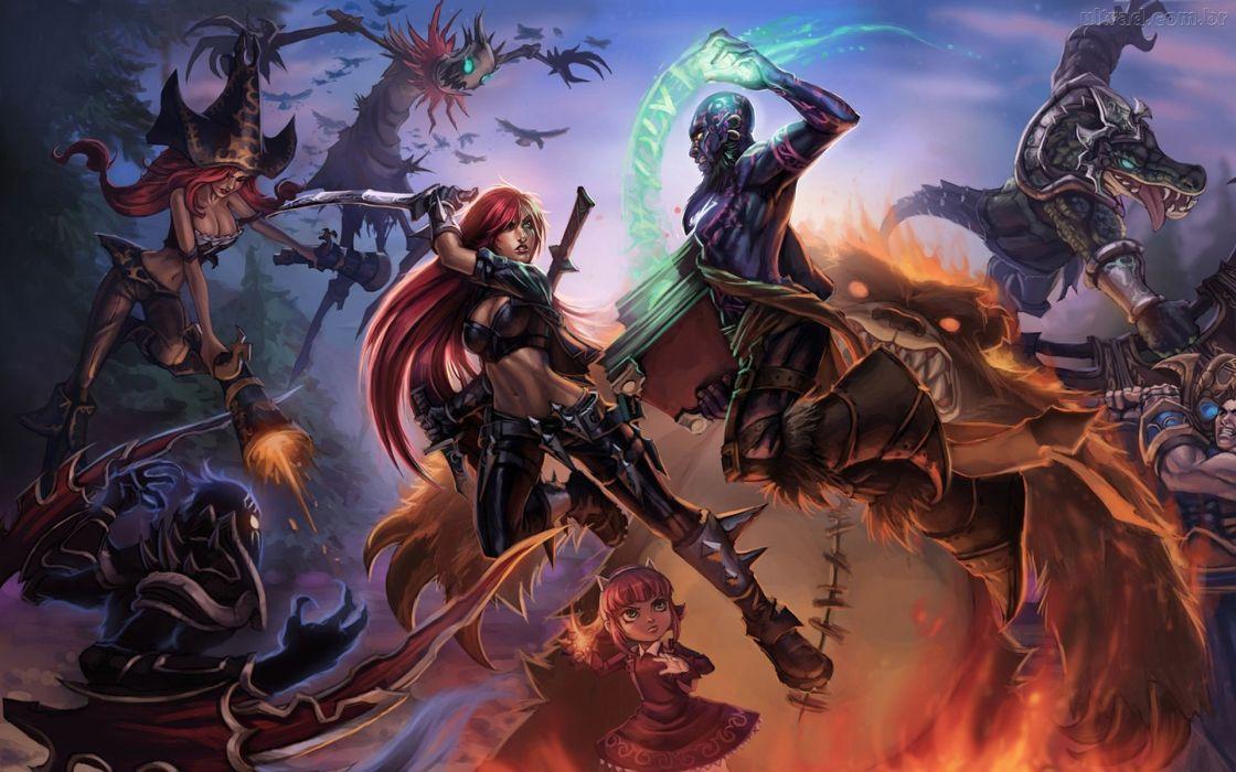 League of Legends Nocturne Ryze Fiddlesticks Miss Fortune Garen Renekton Annie the Dark Child Katarina wallpaper