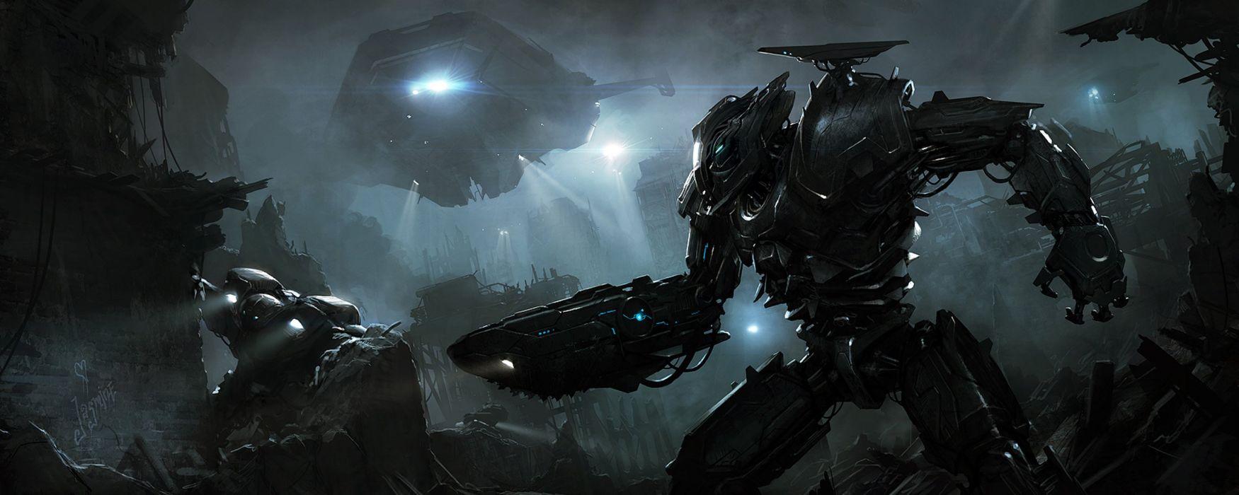 futuristic digital art science fiction Andree Wallin wallpaper