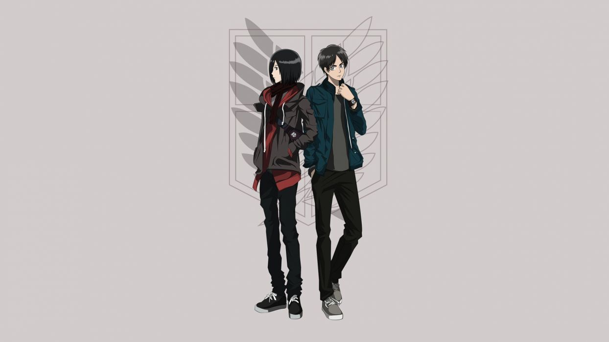 anime anime boys simple background anime girls grey background Shingeki no Kyojin Mikasa Ackerman Eren Jaeger wallpaper