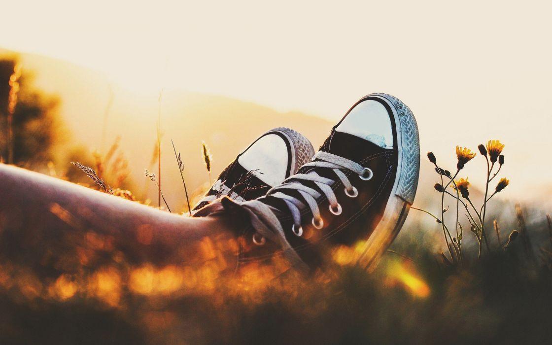 legs summer shoes plants Converse bokeh sunlight depth of field yellow flowers wallpaper