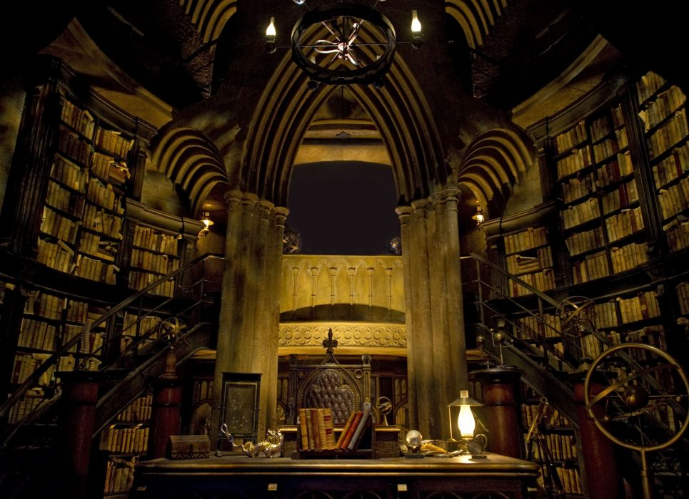 fantasy design occult witch harry potter library wallpaper