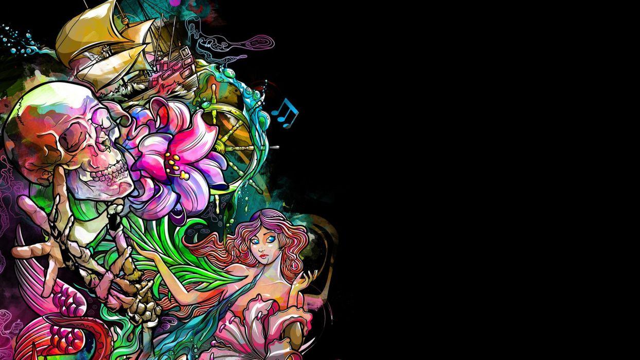 dark skull fantasy psychedelic tattoo wallpaper