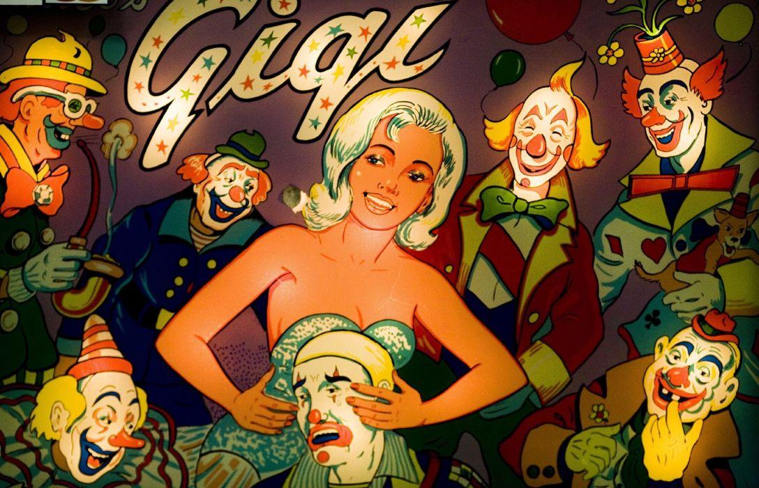 pinball sexy babe retro clown wallpaper