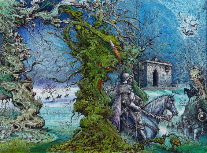 fantasy dark psychedelic warrior armor knight wallpaper