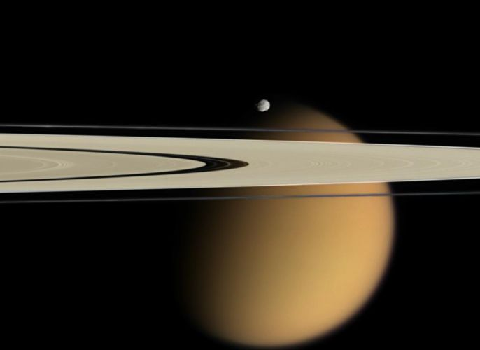 Titan Epimetheus and Saturn's rings Cassini 2745x2000 wallpaper