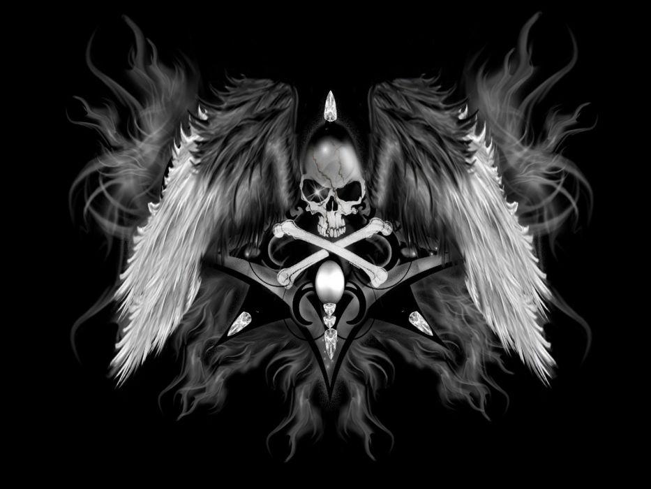 dark skull angel occult wallpaper