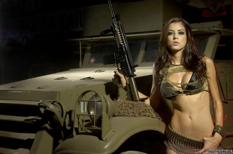 sexy babe cosplay fetish military jeep weapon gun wallpaper