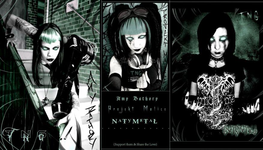Amy Bathory Projekt Malice and NaTy MeTaL heavy metal dark horror cosplay fetish emo gothic poster wallpaper