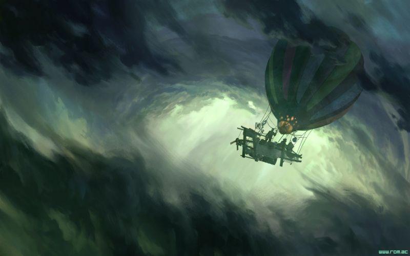 Romantically Apocalyptic fantasy sci-fi ballon sky clouds artwork g wallpaper